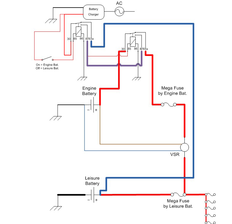 vw t5 kombi conversion  battery charging system design i wanted to have the option of selecting which battery to charge i came up the following diagram